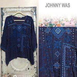 Johnny Was Indigo & Blue Embroidered Swing Tunic